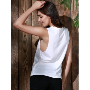 Side Boob Graphic Tank Top - WHITE S