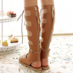 Lace Up Knee High Gladiator Sandals - BROWN 38