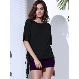 Chic Round Neck Half Sleeve Pure Color Fringed Women's T-Shirt -
