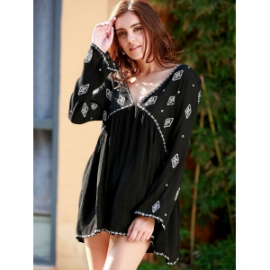 Casual V-Neck Long Sleeve Embroidery Back Slit Dress For Women -