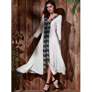 Vintage V-Neck Embroidered 3/4 Sleeve Pleated Calf Length Dress For Women -