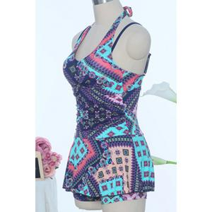 Halter Floral Print One-Piece Swimsuit -