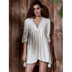 Plunging Neck Embroidered Casual Classy Cream Dress -