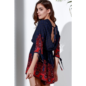 Stylish Plunging Neck 3/4 Sleeve Printed Cut Out Romper For Women -
