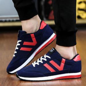 Leisure Color Matching and Lace-Up Design Athletic Shoes For Men -