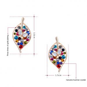 Pair of Trendy Colorful Rhinestone Leaf Earrings For Women -
