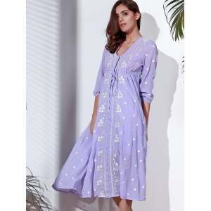 Refreshing Plunging Neck 3/4 Sleeve Embroidered Midi Dress For Women -