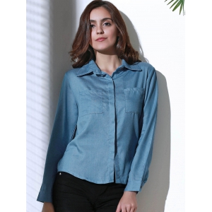 Women's Stylish Shirt Collar Long Sleeve Denim Shirt - BLUE S