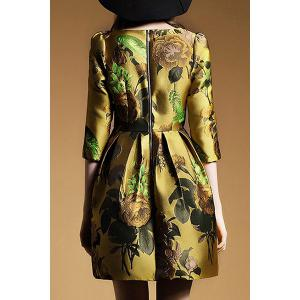 Retro Style Round Collar Embroidery 3/4 Sleeve Dress For Women -