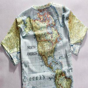 Casual Round Neck World Map Print Short Sleeves T-Shirt For Men - COLORMIX 2XL