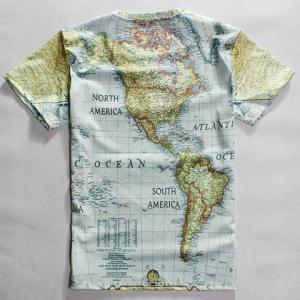 Casual Round Neck World Map Print Short Sleeves T-Shirt For Men -