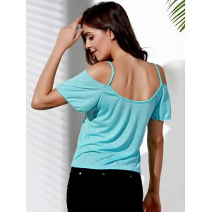 Stylish Spaghetti Strap Short Sleeve Hollow Out T-Shirt For Women -
