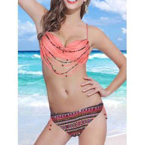 Stylish Spaghetti Strap Strappy Embellished Printed Underwire Bikini Set For Women - PINK S