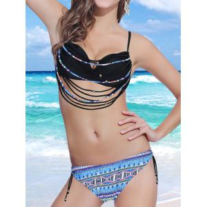 Stylish Spaghetti Strap Strappy Embellished Printed Underwire Bikini Set For Women