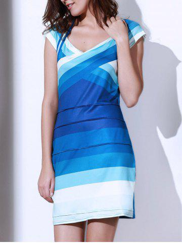 Cheap Sweetheart Neck Ombre Bandage Cocktail Dress BLUE S