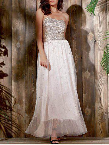 Buy Bandeau Sequin Long Swing Prom Evening Dress KHAKI S