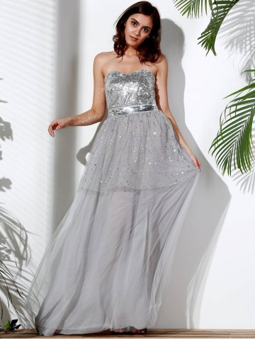 Outfit Bandeau Sequin Long Swing Prom Evening Dress - S GRAY Mobile
