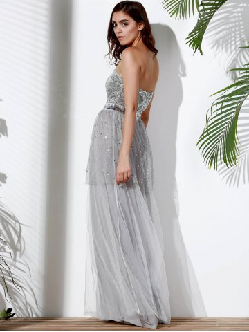 Chic Bandeau Sequin Long Swing Prom Evening Dress - S GRAY Mobile