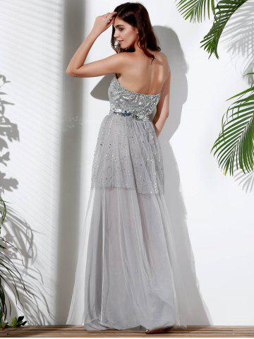 Discount Bandeau Sequin Long Swing Prom Evening Dress - S GRAY Mobile