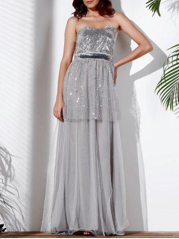 Shop Strapless Bandeau Sequin Long Swing Prom Evening Dress