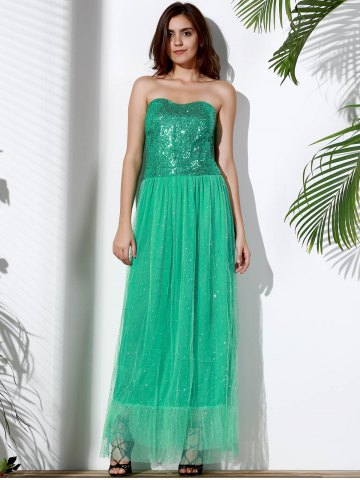 Chic Bandeau Sequin Long Swing Prom Evening Dress - S GREEN Mobile