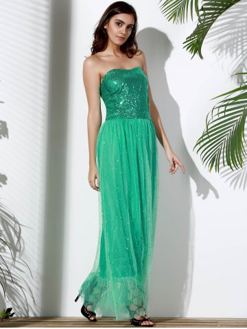 Trendy Bandeau Sequin Long Swing Prom Evening Dress - S GREEN Mobile