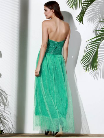 Buy Bandeau Sequin Long Swing Prom Evening Dress - S GREEN Mobile
