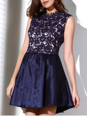 Trendy Elegant Solid Color Stand Collar Hollow Out See-Through Ball Gown Dress For Women PURPLISH BLUE L