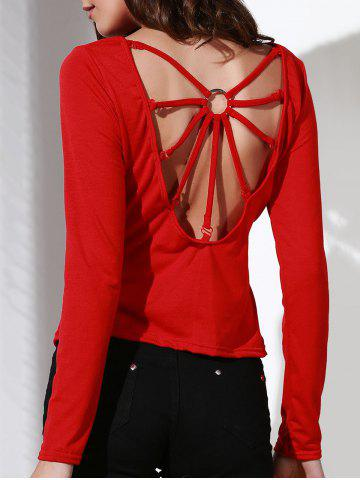 Shops Stylish Scoop Neck Long Sleeve Backless T-Shirt For Women RED S