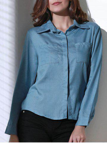 Latest Women's Stylish Shirt Collar Long Sleeve Denim Shirt BLUE S