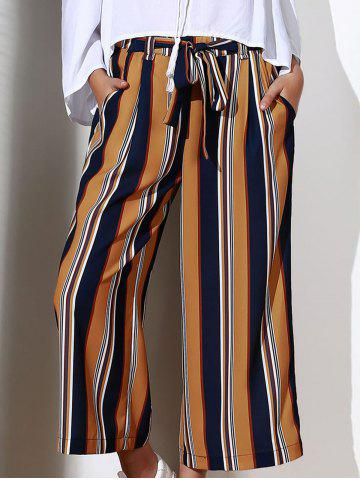 Fashion Chic High-Waisted Striped Pocket Design Women's Cropped Pants