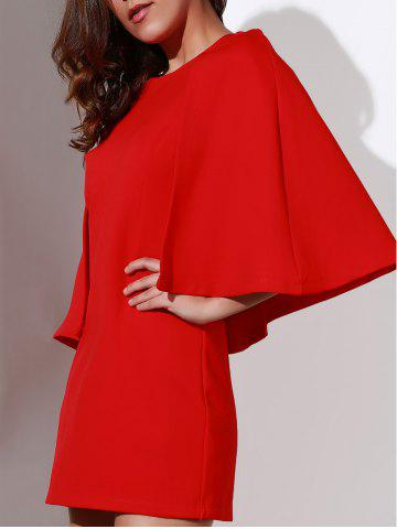 Shop Chic Round Neck 3/4 Sleeve Pure Color Women's Bodycon Dress