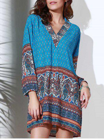 Buy Ethnic Style Stand Collar 3/4 Sleeve Printed Women's Dress BLUE M