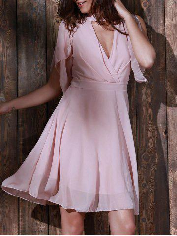 Sale Cut Out Knee Length Chiffon Casual Dress PINK 2XL