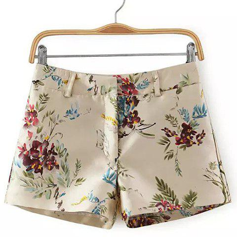 Store Zip Fly Floral Shorts - M COLORMIX Mobile