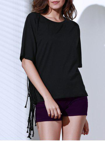 Buy Chic Round Neck Half Sleeve Pure Color Fringed Women's T-Shirt