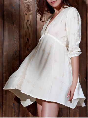 Fancy Plunging Neck Embroidered Casual Classy Cream Dress