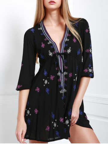 Plunging Neck Embroidered Casual Classy Cream Dress