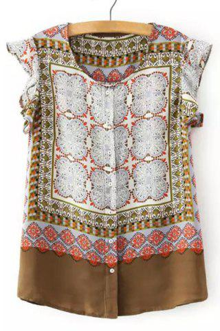 Vintage Ruffled Sleeve Ethnic Printed Blouse For Women - COLORMIX S