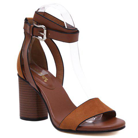 New Casual Buckle Strap and Chunky Heel Design Sandals For Women