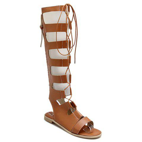 New Lace Up Knee High Gladiator Sandals BROWN 38