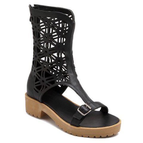 Trendy Zip Back Hollow Out Mid Calf Sandals