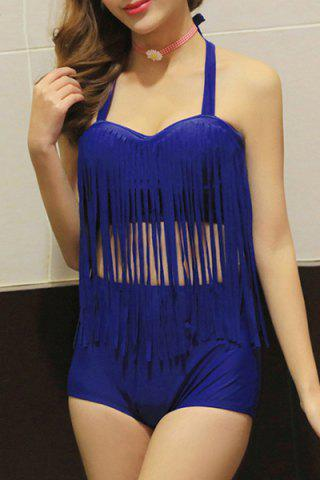 Fancy Sexy Halter Solid Color Fringed Two Piece Swimsuit For Women
