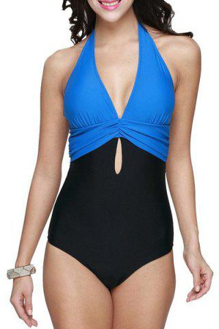 Brief Halter Patchwork Swimsuit For Women - LAKE BLUE XL