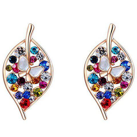 New Pair of Trendy Colorful Rhinestone Leaf Earrings For Women