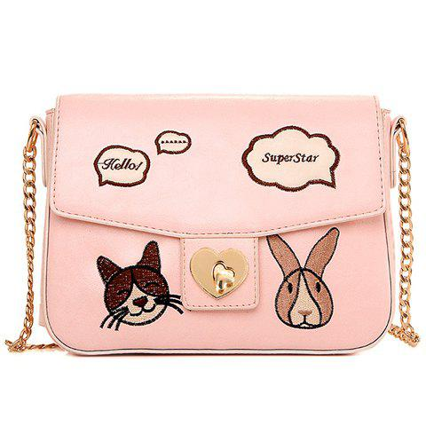Shop Cute Chains and Cartoon Pattern Design Crossbody Bag For Women PINK