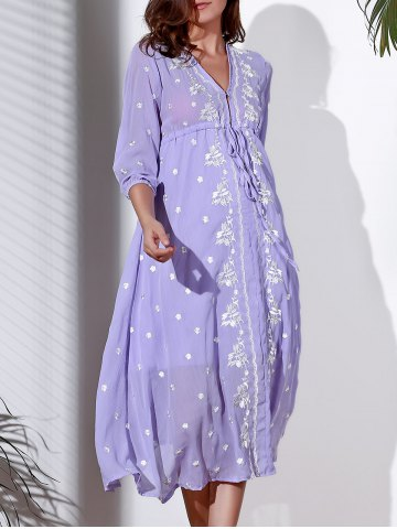Online Refreshing Plunging Neck 3/4 Sleeve Embroidered Midi Dress For Women