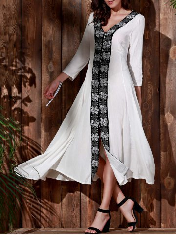 Chic Vintage V-Neck Embroidered 3/4 Sleeve Pleated Calf Length Dress For Women