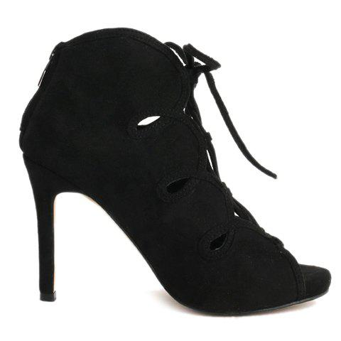 Outfits Trendy Lace-Up and Suede Design Peep Toe Shoes For Women