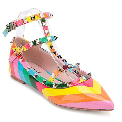 Best Sweet Color Block and Patent Leather Design Flat Shoes For Women